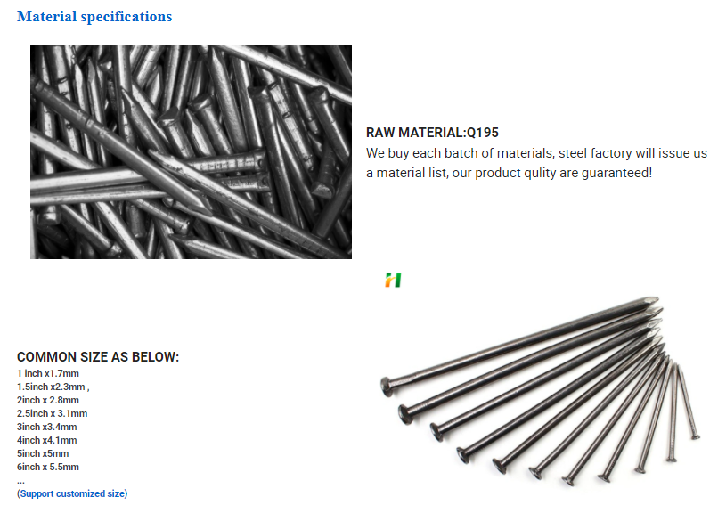 Common nail and steel concrete nails