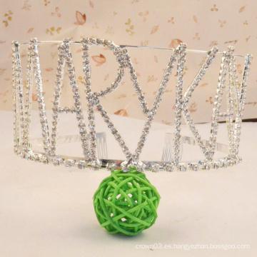 Coronas de las muchachas cristalinas de la tiara del Rhinestone de la corona de la letra para la fiesta