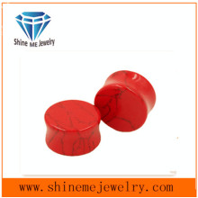 Jewelry Piecring Natural Stone Red Turquoise Earplug