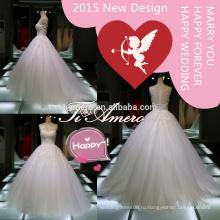 высокое качество аппликация кружева свадебные платья сделано в Китае/новый принцесса моды видеть сквозь элегантный 2015 свадебные платья