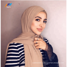 Мусульманские женщины из окрашенного полиэстера, простой шарф, шаль, хиджаб
