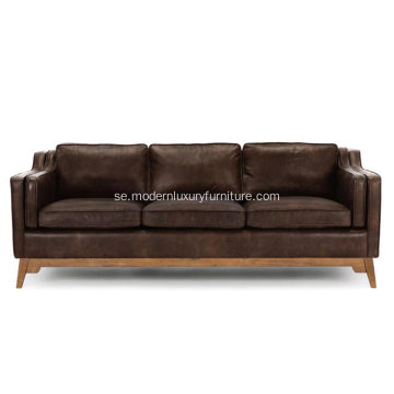 Worthington Oxford Brown Läder Soffa