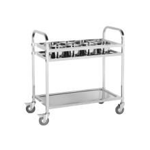 Hand-push stainless steel dining trolley in the kitchen