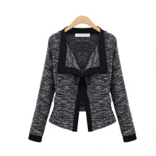 Autumn European Style Women Knitted Linen Cotton Splicing Color Fashion Coat
