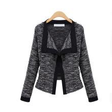 Outono estilo europeu Mulheres malha de algodão de linho Splicing Color Fashion Coat