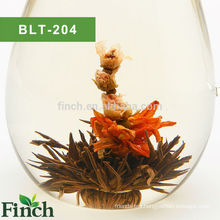 Finch Hot Sale Handmade Black Flowering Tea with Rose bud and Lily Flower