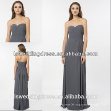 HC2231 Simple strapless sleeveless sweetheart neck ruffled top high waist A-line floor length long grey chiffon evening dress