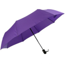 3 fold auto open classic rubber handle purple color advertising rain umbrella