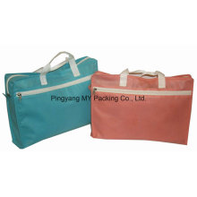 Recycle Reusable Supermarket Non Woven Folding Promotional Zipper Bag