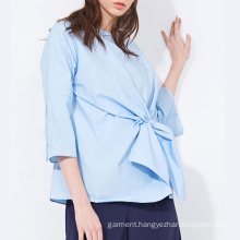 Casual Solid Color Bow Tie Front Blouse