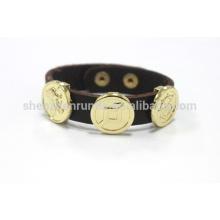 Moda jóias pulseira de couro marrom escuro com pulseira de botão fabricante & fornecedor