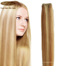 #613/27 piano color silky straight brazilian hair blonde to lightest brown virgin human hair extension