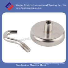 Gancho magnético personalizado del neodimio con el níquel plateado