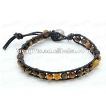Amistad envolver pulseras con el ojo de tigre piedra redondo Beads
