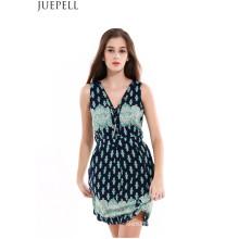 Лето Принт платье сексуальный V-образным вырезом без рукавов длинный участок талии юбка платье женщины