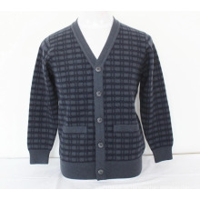 Cashmere / Yak Wolle V-Ausschnitt Strickjacke mit Pocket Sweater / Kleidung / Garment / Strickwaren