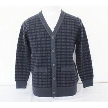 Кашемир/шерсти яка с V-образным вырезом кардиган с карманами свитер/одежды/одежда/трикотаж
