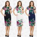 Europa Alta Moda Design Senhoras de Manga Curta Vestido Tradicional Slim Fit Impresso Flor Em Torno Do Pescoço Das Mulheres Vestido Frock