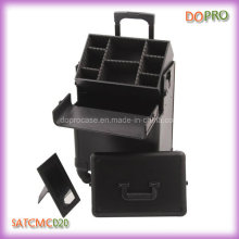 2 In1 Black Travel Professional Rolling Makeup Artist Case (SATCMC020)