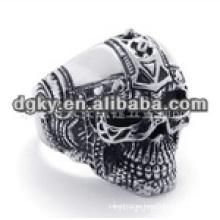 Vintage estilo cráneo anillos de acero quirúrgico con forma grabada para los hombres
