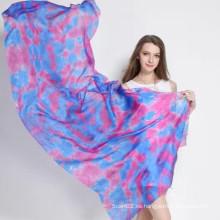 Cómodo y suave de seda Paj Tie-Dyed bufanda larga