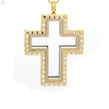 Colgante medallón cruz en joyas de oro, colgante medallón de puerta de hadas, medallón cruz abierta