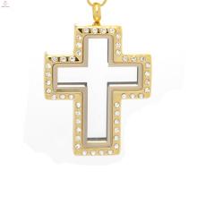 Cruz medalhão pingente em jóias de ouro, pingente medalhão porta de fadas, medalhão de cruz aberto
