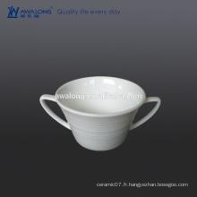 Bone China deux poignées White Blank fine carasse à soupe et soucoupe