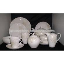 new arrival dishes rim shape dinner tableware bone china ceramic coffee tea pot set