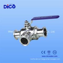 Válvula de esfera sanitária de aço inoxidável de 3 vias com extremidade da braçadeira