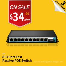 Poder passivo do POE 100M dos portos de 24v 8 sobre o interruptor de injector do ponto de entrada do Ethernet