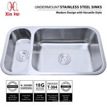 20/80 éviers de cuisine à double cuve avec bol profond, éviers de cuisine Undermount en acier inoxydable 304 18/8 304 à vendre
