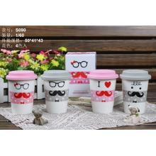 Mustache Ceramics Mug with Silicone Lid