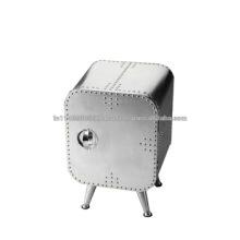 Industrie Eisen Metallic 1 Tür 4 Beine Aviator BedSide