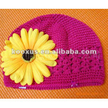Princess crochet hat with flower
