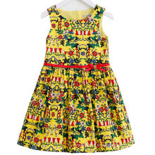 Robe de fille de fleur de coton de mode dans la robe d'enfants avec des vêtements d'enfants