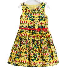 Vestido da menina de flor do algodão da forma nas crianças Frock com roupa das crianças