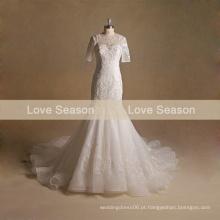 MRY010 Real custome fez ver através organza sereia rendas vestido de noiva vestido de noiva vestido de noiva vestido de casamento com manga