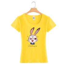 Camiseta de encargo de las mujeres de la moda del algodón del cuello redondo de la impresión de la historieta