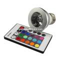 Vente chaude e27 b22 gu10 mr16 3W rgb led avec rgb contrôleur led rgb lighting
