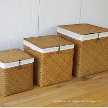 (BC-ST1081) Practical Pure Manual Natural Straw Basket with Cover