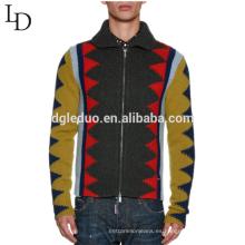 Último suéter diseños cremallera solapa fea jacquard suéter de lana para hombres