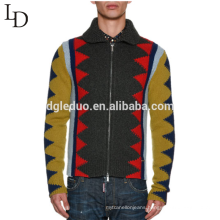 Latest sweater designs jacquard ugly lapel zipper up wool sweater for men