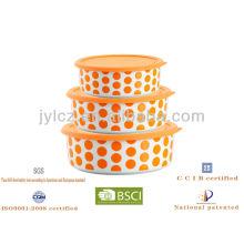 almacenamiento de alimentos redondo con tapa de silicona, juego de 3, diseño azul de punto redondo