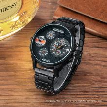Reloj de pulsera de acero multifuncional de moda para hombres
