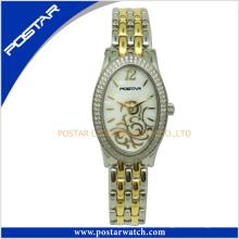 Mulheres de aço inoxidável de senhoras de moda famosas de forma oval em forma de relógio