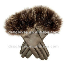 ladies leather gloves with fox fur