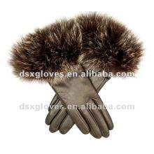 Женские кожаные перчатки с мехом из лисы