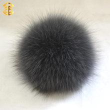 Bola fina de la piel de Fox con la decoración del sombrero del botón Venta al por mayor la piel de zorro genuina 10cm Pom Poms