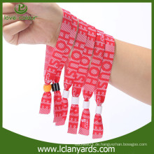 Polyester benutzerdefinierte Logo ein Mal verwendet Werbe-gewebte Armbänder